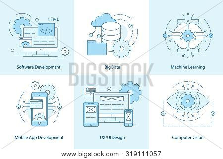 Mobile App Line Icons. Software Development Icon For Web Design. Big Data And Cloud Technology Conce