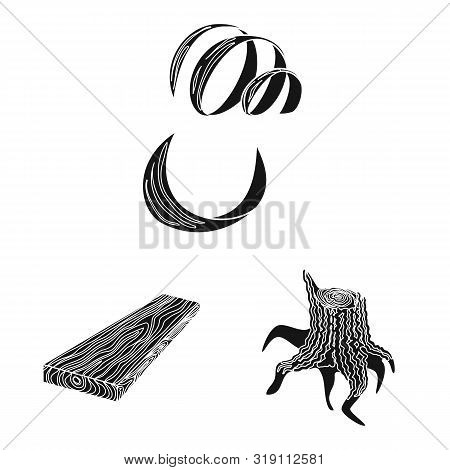 Vector Design Of Hardwood And Construction Symbol. Collection Of Hardwood And Wood Stock Symbol For
