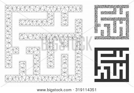 Mesh Labyrinth Model With Triangle Mosaic Icon. Wire Frame Polygonal Mesh Of Labyrinth. Vector Mosai