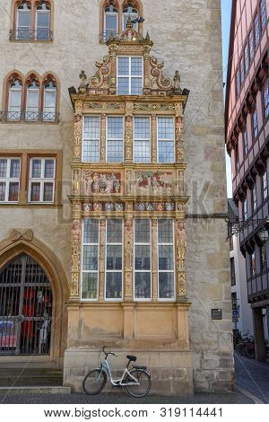 Hildesheim, Germany - 1 July 2019: Detail Of A House At Historical Market Square In Hildesheim On Ge