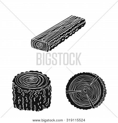 Vector Design Of Hardwood And Construction Sign. Set Of Hardwood And Wood Stock Vector Illustration.