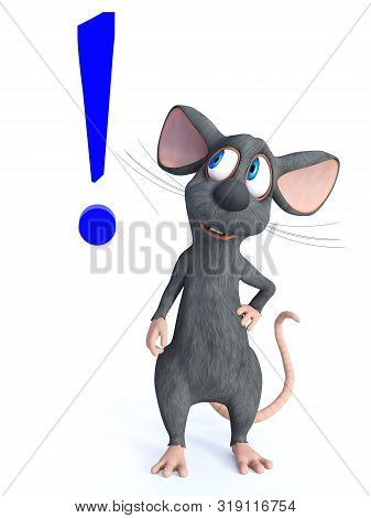 3d Rendering Of A Cute Smiling Cartoon Mouse Looking At A Big Blue Exclamation Mark Beside Him. Whit