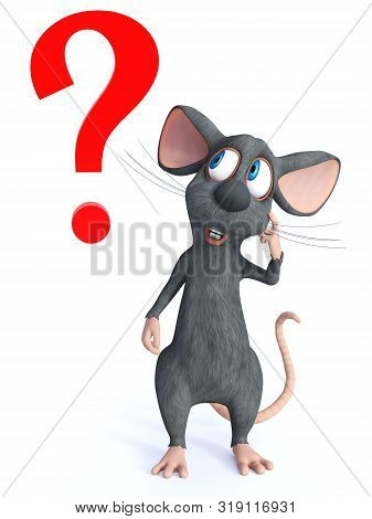 3d Rendering Of A Cute Smiling Cartoon Mouse Looking Like He Is Thinking About Something. A Big Red