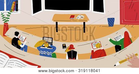 Students Sit In The Classroom And Learn. School, Lesson