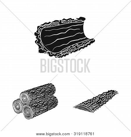 Vector Design Of Hardwood And Construction Sign. Collection Of Hardwood And Wood Stock Symbol For We