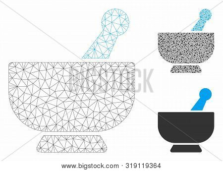Mesh Mortar Model With Triangle Mosaic Icon. Wire Carcass Triangular Mesh Of Mortar. Vector Composit