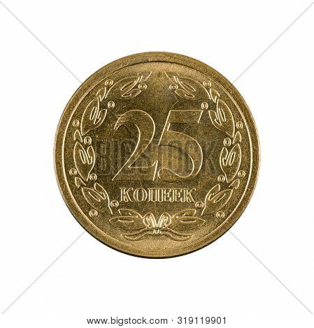 A Single 25 Transnistrian Kopecks Coin (2005) Obverse Isolated On White Background