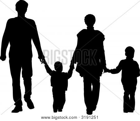 family of four vector on a white poster