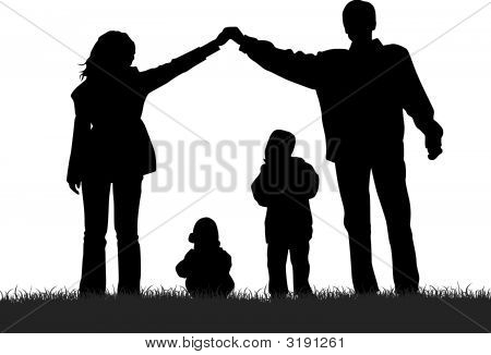 Vector Silhouette Family House