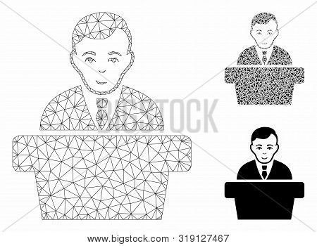 Mesh Politician Model With Triangle Mosaic Icon. Wire Carcass Triangular Mesh Of Politician. Vector