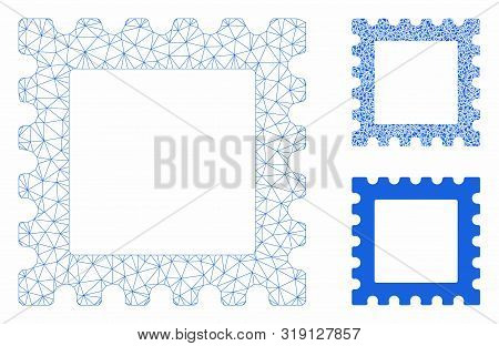 Mesh Postage Stamp Model With Triangle Mosaic Icon. Wire Carcass Polygonal Mesh Of Postage Stamp. Ve