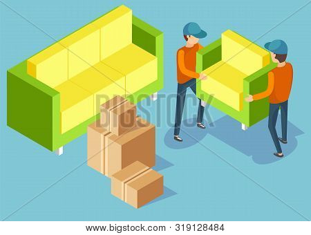 Two men in workwear moving armchair and couch. Delivery service for moving and transporting furniture and other objects. Cardboard boxes and parcels. Flat isometric cartoon poster