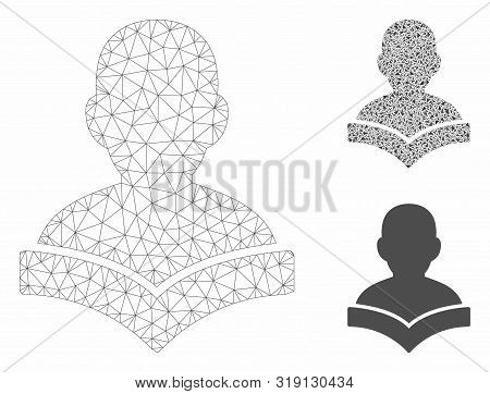 Mesh Reader Student Model With Triangle Mosaic Icon. Wire Frame Triangular Mesh Of Reader Student. V