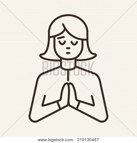 Paying Woman Line Icon. Gesture, Begging Person, Namaste. Spirituality Concept. Can Be Used For Topi