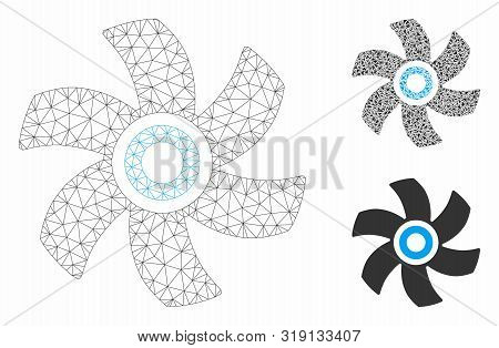 Mesh Rotor Model With Triangle Mosaic Icon. Wire Frame Polygonal Mesh Of Rotor. Vector Collage Of Tr