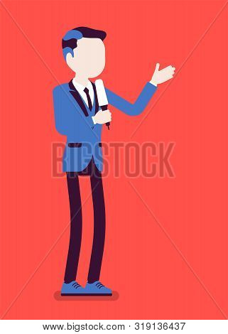 News Presenter, Male Newsreader Or Newscaster Broadcasting. Young Man With Tv Interview Microphone,