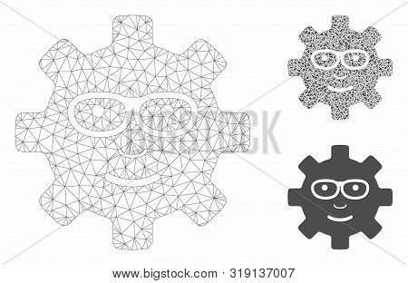Mesh Service Gear Glad Smile Model With Triangle Mosaic Icon. Wire Frame Triangular Mesh Of Service