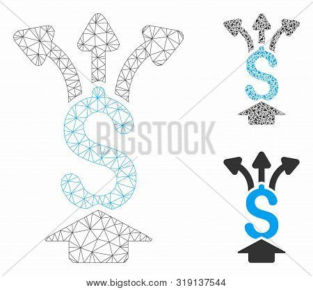 Mesh Share Money Model With Triangle Mosaic Icon. Wire Carcass Polygonal Mesh Of Share Money. Vector
