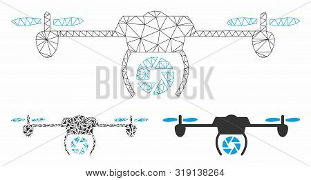 Mesh shutter spy airdrone model with triangle mosaic icon. Wire frame polygonal network of shutter spy airdrone. Vector collage of triangle elements in different sizes, and color tints. poster