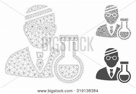 Mesh Sick Chemist Model With Triangle Mosaic Icon. Wire Carcass Triangular Network Of Sick Chemist.