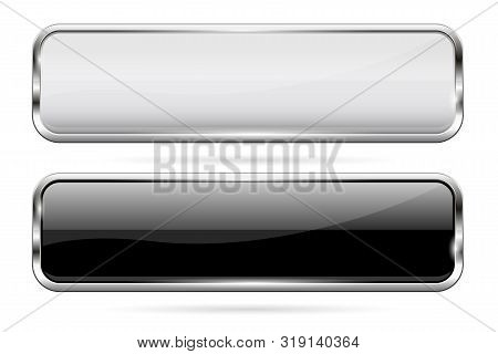 Glass Buttons. Black And White Icons With Metal Frame. Vector 3d Illustration Isolated On White Back