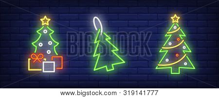 Fir-trees And Gift Boxes Neon Signs Set. Christmas, New Year Day, Celebration Design. Night Bright N