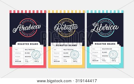 Arabica, Robusta, Liberica Coffee Beans Packaging Label Design Template. Hand Written Lettering. Vin