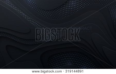 Black paper cut background. Abstract realistic papercut decoration with wavy layers and silver glitters. 3d topography relief. Vector topographic illustration. Cover layout template. poster