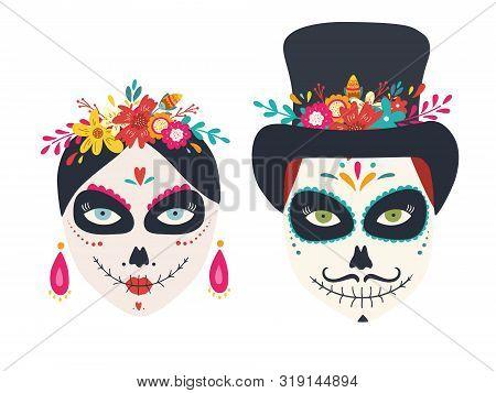 Dia De Los Muertos, Day Of The Dead, Mexican Holiday, Festival. Vector Sugar Skulls Of Woman And Man