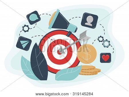 Behavioral Targeting Concept Arrow Hit Target, Megaphone. Audience On Customer Behavior: Likes, Comm