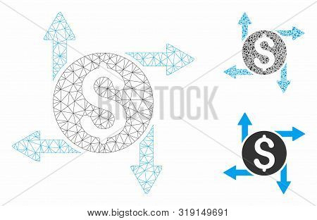 Mesh Spend Money Model With Triangle Mosaic Icon. Wire Carcass Triangular Mesh Of Spend Money. Vecto
