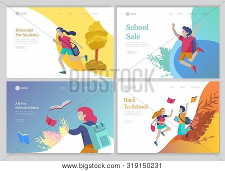 Landing Page Template With Happy School Children Joyfully Jumping And Laughing. Concept Of Happiness