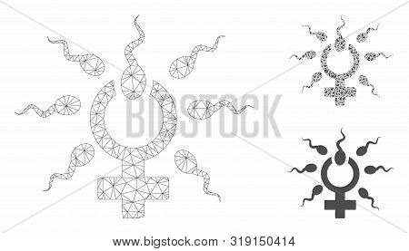 Mesh Sperm Penetration Model With Triangle Mosaic Icon. Wire Frame Triangular Mesh Of Sperm Penetrat