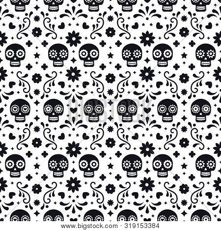 Day Of The Dead Seamless Pattern With Skulls And Flowers On White Background. Traditional Mexican Ha
