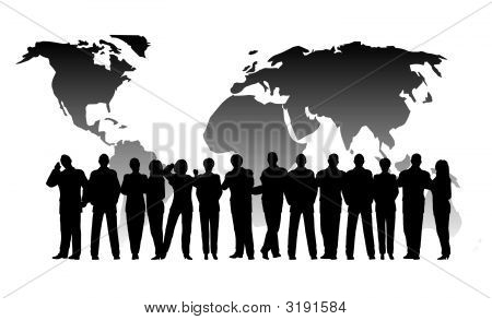 a business crowd on a globe background poster