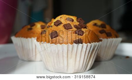 Delicious Muffins With Chocolate Pieces - Sweetness For Any Holiday.