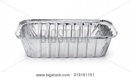 Empty disposable square aluminium foil baking dish isolated on white