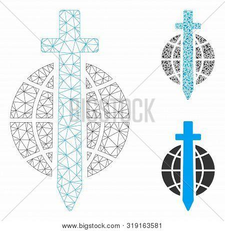 Mesh Sword Globe Model With Triangle Mosaic Icon. Wire Frame Triangular Mesh Of Sword Globe. Vector
