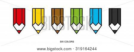 Flat Linear Design. Pencil Icon For Apps And Web Sites. Set Of Colored Pencils. Six Colors. Vector I
