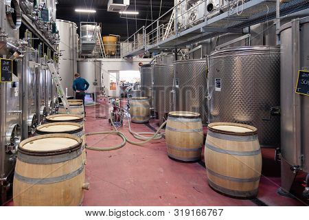 France Beaune 2019-06-20 Modern Wine Cellar, Factory With Metallic Stainless Steel Tanks For Ferment