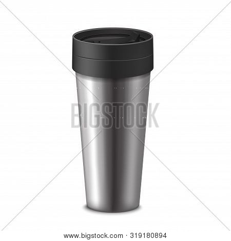 Realistic 3d Detailed Tumbler Thermos Cup Warm Drink For Travel. Vector Illustration Of Stainless Bo