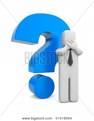 3d person businessman with blue question mark. Image contain the clipping path