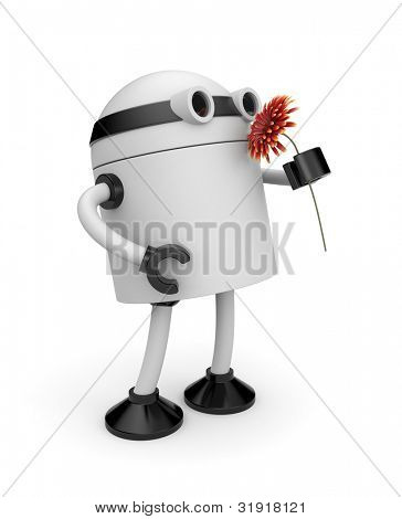 3d robot sniffing flower