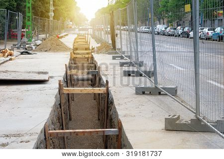 Engineering Works. Repair Of Urban Underground Communications. Laying Communications Underground. De