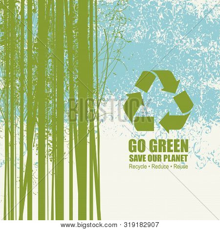 Vector Illustration On The Theme Of Environmental Protection With The Words Go Green, Save Our Plane