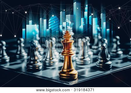 Business Futuristic Graphic Icon,silver And Golden Chess Board Game.strategy Ideas And Connection Co