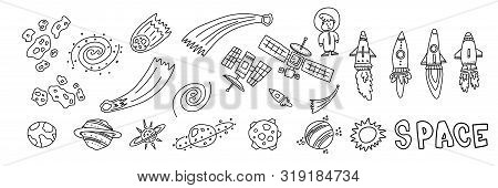 Informational Flyer Hand Drawn Set Space Objects. Different Types Missiles For Flight. Satellites To