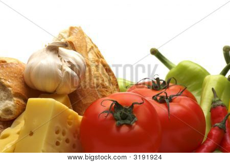 Rustic Bio Healthy Food Background With Cheese Tomatoes French Baguette Bread Garlic And Paprica