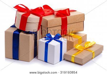 Many Boxes With Ribbon Gift On White Background Isolation
