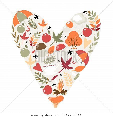Autumn Heart. Vector Image On A White Background. Eps 10